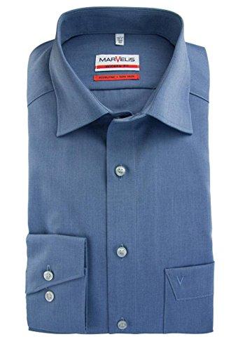 MARVELiS-Hemd 4704-64-13 blau MODERN-FIT (Slim-Fit) langarm Mittelblau