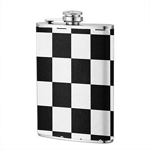 Schwarz und Weiß Quadrat Schach Schach Flachmann 8 Unzen 304 Edelstahl Leder Wrap Trinkflasche Flagon für Whisky Liquor -