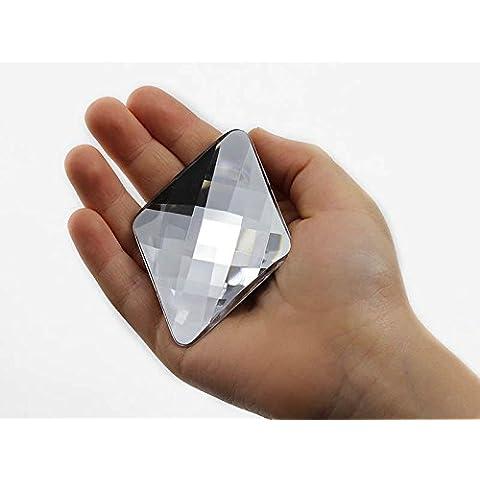 67 x 48 mm Gema de diamante de imitacion extra grande con la parte posterior plana. Alta calidad. Pro Grado. Envuelto en forma individual. - 2 piezas