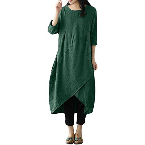 Ballon Kostüm Grüne - MRULIC Maxi Dress Womens Vintage Lange Tunika Baggy Long Plus Size Leinentuch religiöse Feiertag Kostüm(A-Grün,EU-40-44/CN-L)