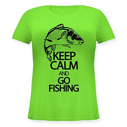 Angeln - Keep Calm and Go Fishing - Lockeres Damen-Shirt in Großen Größen mit Rundhalsausschnitt Hellgrün