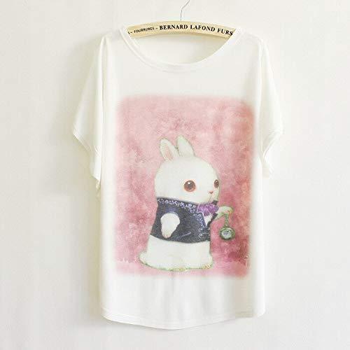 KDFGUSOVM Super Nette Taschenuhrhäschendruck Der Neuen Frauen des Sommers Einfaches Beiläufiges Kurzärmliges Rundes Ansatz Wildes T-Shirt