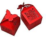 PONATIA 50 PCS Butterfly favorisce la scatola di caramella / contenitori di regalo il favore del favore della neonata del partito di cerimonia nuziale (rosso)