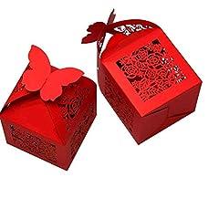 Idea Regalo - PONATIA 50 PCS Butterfly favorisce la scatola di caramella / contenitori di regalo il favore del favore della neonata del partito di cerimonia nuziale (rosso)