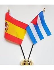 """España y Cuba Amistad Bandera de mesa pantalla 25cm (10"""")"""