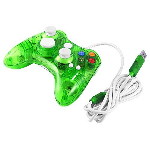 hehilark Wireless Game Controller, USB Wired Game Controller für Xbox 360Joypad Gamepad Joystick mit LED-Licht Transparent & Grün
