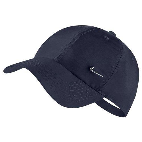 Nike U NK H86 Swoosh Hat, Obsidian/Metallic Silver, One Size (Schwarze Baseball-mütze-verstellbar)