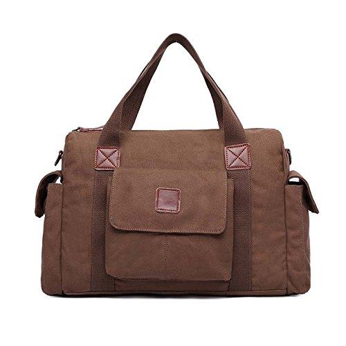 VRIKOO Unisex Canvas Travel Tote Bag Casual Men's Shoulder Duffle Luggage Bags (Black) Kaffee