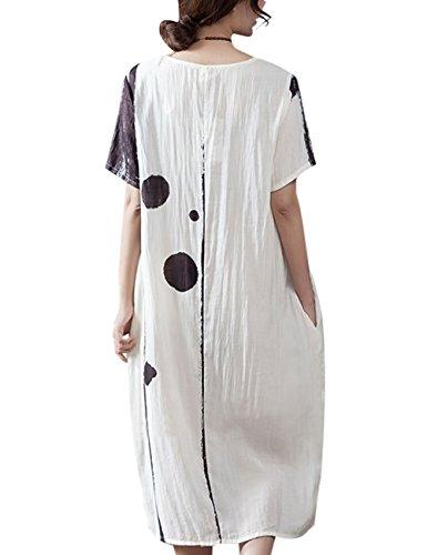 Youlee Damen Sommer Gedruckt Kurzarm Kleid Style 2