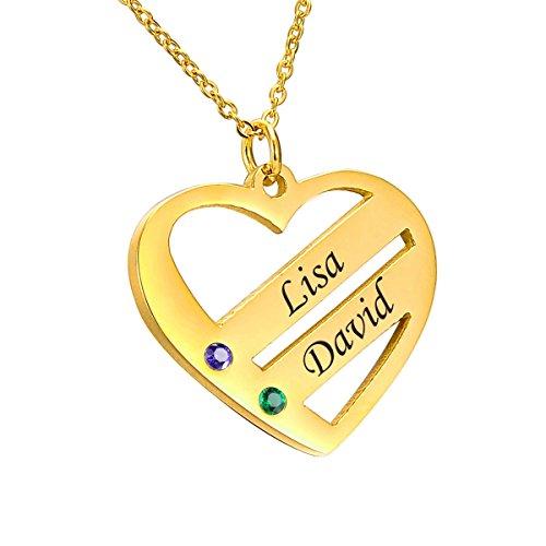 te Familienmitgliedernkette - Halskette mit Steinen - Geburtssteinkette - mit Gravur 2 Namen (2 Namen vergoldet) ()