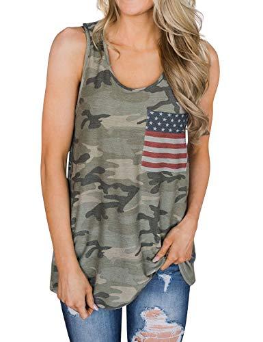 YUHX Damen Rundhals Tarnen Tank Tops Frauen ärmellose amerikanische Flagge grafische Tarnung Oberteile Shirts