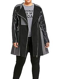 Damen Punk Slim Lederjacke Bikerjacke Motorrad Kurz Jacke Revers Mantel Windjack