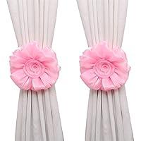 1Pair Voile Vorhang Raffhalter Rose Blume Band für Wohn-Schlafraum Fenster
