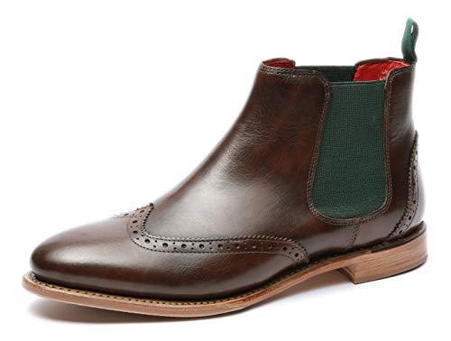 Gordon & Bros Damen Chelsea Boots Paris 5776,rahmengenähte,Flexible Frauen Stiefel,Halbstiefel,Stiefelette,Bootie,Goodyear Welted,Schlupfstiefel,DK.Brown,EU 40 (Goodyear-stiefel)