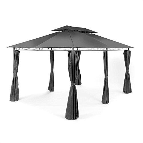 Blumfeldt grandezza • padiglione • tenda per feste • padiglione da giardino • 3 x 4 m • costruzione in acciaio • poliestere • verniciato a polvere • tetto smussato • idrorepellente • colore grigio