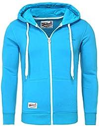 Akito Tanaka Herren Sweatjacke Zip Hoodie Sweatshirt 18110 Sweater mit  Kapuze Reißverschluss slim fit kontrast look ed8dbb3b56