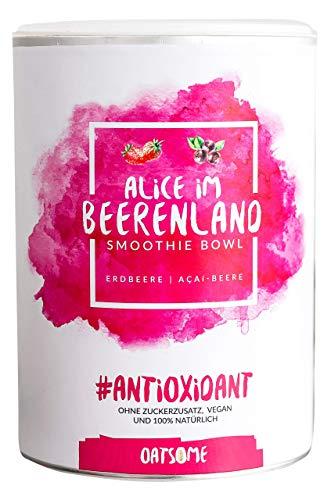 Alice im Beerenland - Smoothie Bowl - Nährstoff Frühstück mit 100% Natürlichen Zutaten & ohne Zusatzstoffe und raffinierten Zucker - Lange satt mit nur 200 kcal - 400g (Roter Smoothie Mixer)