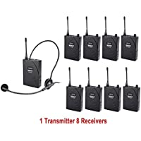 EXMAX UHF-938 UHF Acoustic Transmission Wireless Headset Microphone Audio Tour Guide System 433MHz for Church Translation Teaching Travel Simultaneous Interpretation.(1 Transmitter and 8 Receivers)