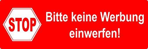 """Preisvergleich Produktbild 5 Aufkleber """"Bitte keine Werbung einwerfen!, rot"""", 9x3cm, Art. hin_018_rot, Reklame, Werbung, außenklebend für Briefkasten"""