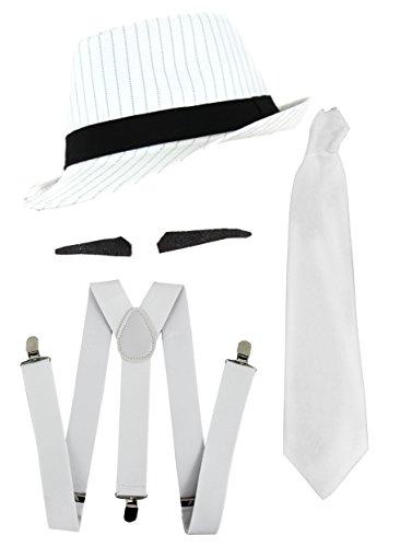 Gangster Kostüm der 1920er Reihe -Zubehör Set Deluxe- Weiß Hosenträger + Weiße Krawatte + Schwarzer Spiv/Schnurrbart + Weißer Nadelstreifen-Fedora-Hut (Deluxe-krawatte-hut)