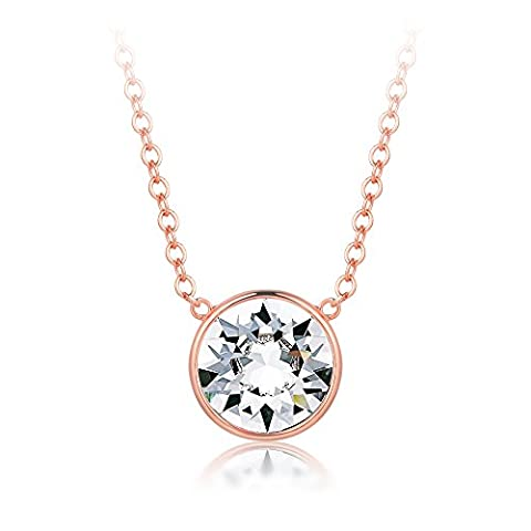 MYJS Bella Drop Necklace Rose Gold Plated with Swarovski Crystals, Birthstone Pendant Gift 16+2