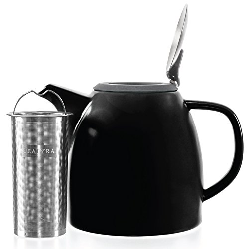 Tealyra - Drago Ceramic Teapot Black - 1100ml (4-6 Cups) - Large Stylish Teapot with Stainless Steel Lid Extra-Fine Infuser to Brew Loose Leaf Tea