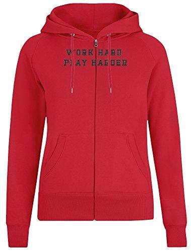 Arbeite hart Spiele härter - Work Hard Play Harder Zipper Hoodie Jumper Pullover for Women 100% Soft Cotton Womens Clothing Medium (Hard Hoodie Hard Work Play)