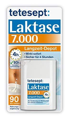 Tetesept Laktase 7.000 FCC-Einheiten Langzeit-Depot Mit 5 Stunden Langzeit-Depot, 90 St?ck -