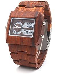 Uwood - Reloj de madera de sándalo, reloj de lujo, diseñador japonés, doble movimiento, pantalla LED, reloj de madera para hombre