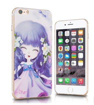 Girl iphone6s Plus/iPhone 6Plus Coque en TPU Coque Peint à la main Relief Protection Housse Coque souple en silicone avec une prise de la poussière
