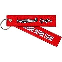 """Llavero con etiqueta, diseño de caza de la II Guerra Mundial, Supermarine Spitfire, con mensaje """"REMOVE BEFORE FLIGHT"""", Incluye anilla cromada"""