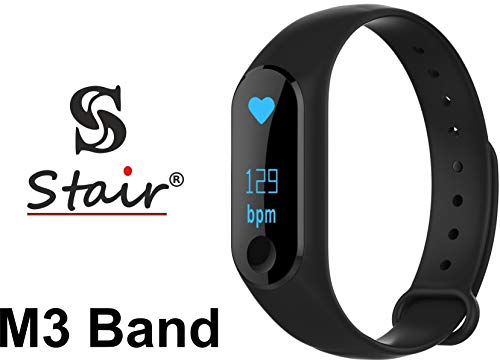 S Stair® M3 Intelligence Bluetooth Health Wrist Smart Band Watch Monitor/Smart Bracelet/Health Bracelet/Activity Tracker/Smart Fitness Band Compatible for All Androids and iOS Phone/Tablet (Black)