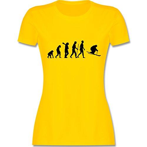 Evolution - Skiabfahrt Evolution - tailliertes Premium T-Shirt mit Rundhalsausschnitt für Damen Gelb