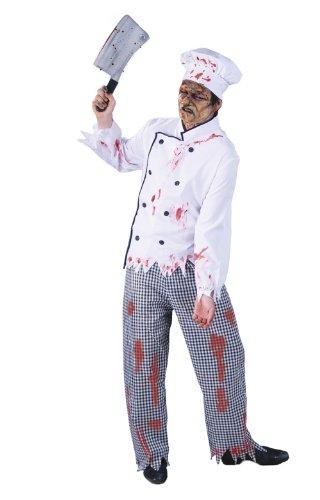 Zombie Koch Kostüm für Herren Gr. M/L, Größe:L (Zombie Koch Kostüm)