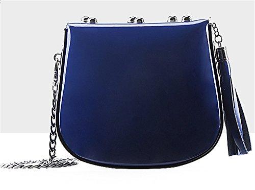 Xinmaoyuan Borse donna in pelle spalla Candy Croce sghemba rivetti borsette Cross-Painted Forfait Vernice,Nero Blu chiaro