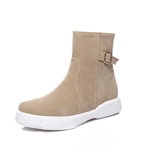 HSXZ Scarpe da donna in pelle Nubuck inverno cadono Snow Boots Fashion Stivali Stivali Bootie Round Flat Toe stivaletti/stivaletti stivali Mid-Calf fibbia Green