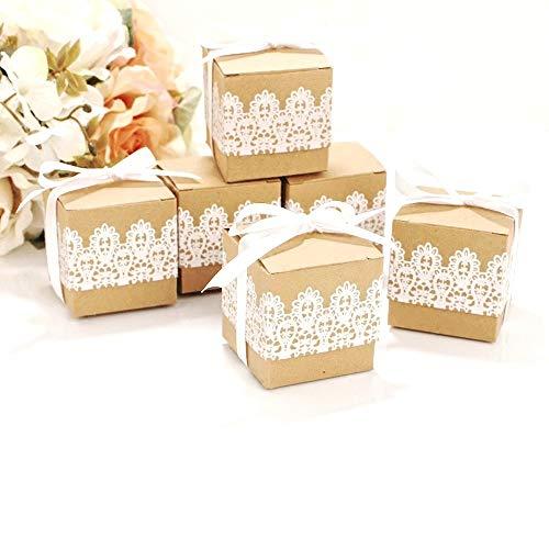 Geschenkbox aus Kraftpapier + Spitze - 5