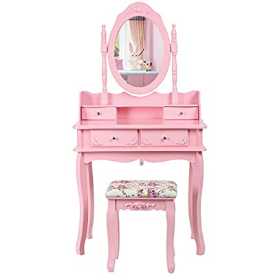 Songmics Pink Dual-layer Dressing Table with Stool and Mirror, 4 Drawers with 2 divider RDT12P - cheap UK light store.