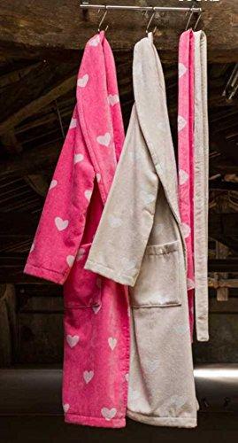 Bademantel Cuore Velours 100% Baumwolle (XL, Beije) Rose