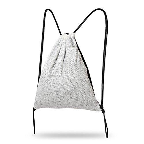 Lady Donovan - Turnbeutel Sportbeutel Tasche Bling Bag Jute-Beutel Glitzer einfarbig Weiß