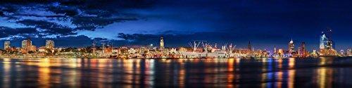 Hamburg Skyline am Abend. Limited Edition. Auflage: 150 Stück. Fotografie Abzug in Galerie Qualität. Druck auf Fine Art Photo Papier, versandfertig Gerollt als Kunst Foto Bild