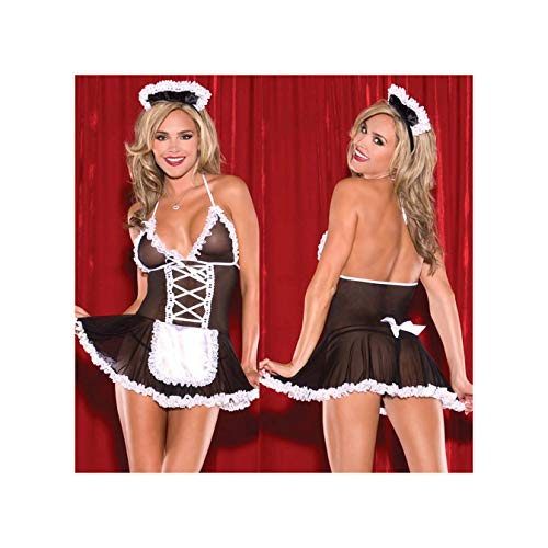 Long Leg Panty Girdle (EnbaViriwuu Sexy Costumes Women Cosplay Maid Uniform Lenceria Sexy Lingerie Hot Lace Perspective Babydoll Chemise Erotic Lingerie for Women M L)