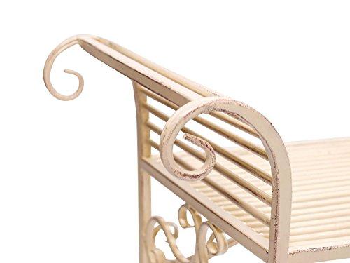 Gartenbank Eisen Metall Antik-Stil Garten Bank Gartenmöbel creme weiss 70cm - 4