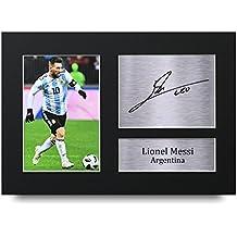 Lionel Messi Los Regalos Firmaron A4 la Dedicatoria Impresa Argentina Demostración de Foto