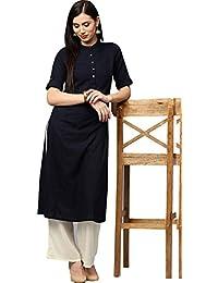 Jaipur Kurti Women's Cotton Kurta With Palazzo Set (Navy Blue & Off-White)