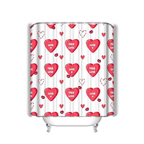 Bathroom Shower Curtain Set with Hooks - Spa, Hotel Luxury, Water Repellent 60x72 INCH Love red Hearts Kisses Happy Valentine s Day red h (Nautische Valentine Karten)