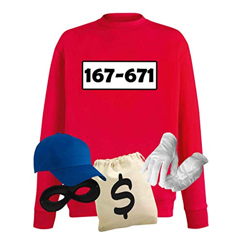 Sweatshirt Panzerknacker Herren Deluxe+ Kostüm-Set Wunschnummer Karneval JGA XS - 5XL Fasching JGA Party Sitzung, Größe:3XL, Logo & Set:Standard-Nr./Set deluxe+ (167-761/Shirt+Cap+Maske+Hands.+Beutel) Was Herren Sweatshirt