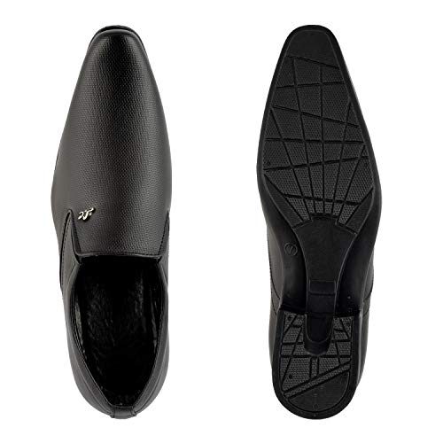 HANIIY Mens Black Fine Synthetic Formal Shoe 6 UK