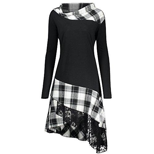 ZAFUL Lace Plaid Panel Plus Size Kleider Women's Long Sleeve Beiläufige Loose T-Shirt Dress Blouse Top?BLACK WHITE 54?