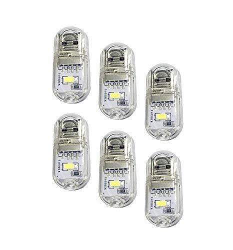 Vimmor Luz Nocturna Portátil USB / Mini LED Lámpara Brillante Teclado Lámparas de Escritorio de la Computadora Interior o Exterior, Blanco Frío, Paquete de 6